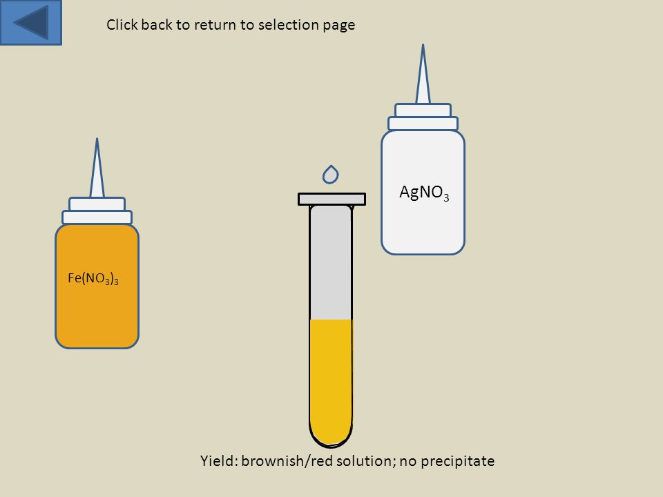 Fe(NO 3 ) 3 AgNO 3 Yield: brownish/red solution; no precipitate Click back to return to selection page