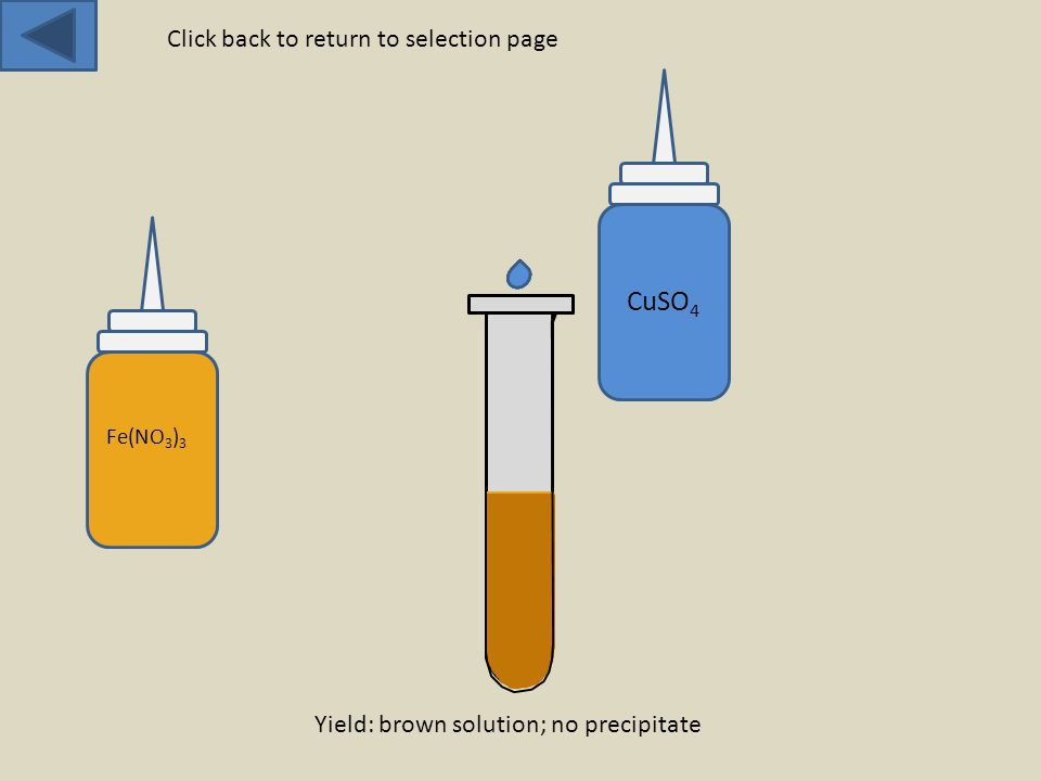 Fe(NO 3 ) 3 CuSO 4 Yield: brown solution; no precipitate Click back to return to selection page
