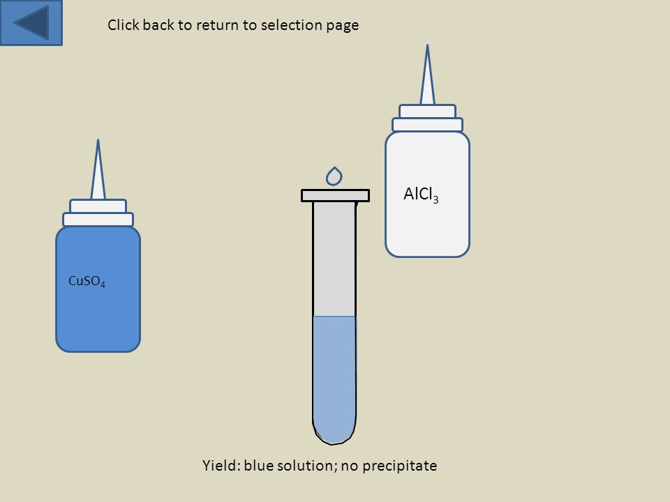 CuSO 4 AlCl 3 Yield: blue solution; no precipitate Click back to return to selection page