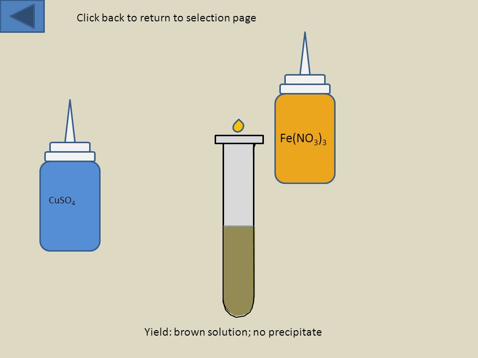 CuSO 4 Fe(NO 3 ) 3 Yield: brown solution; no precipitate Click back to return to selection page