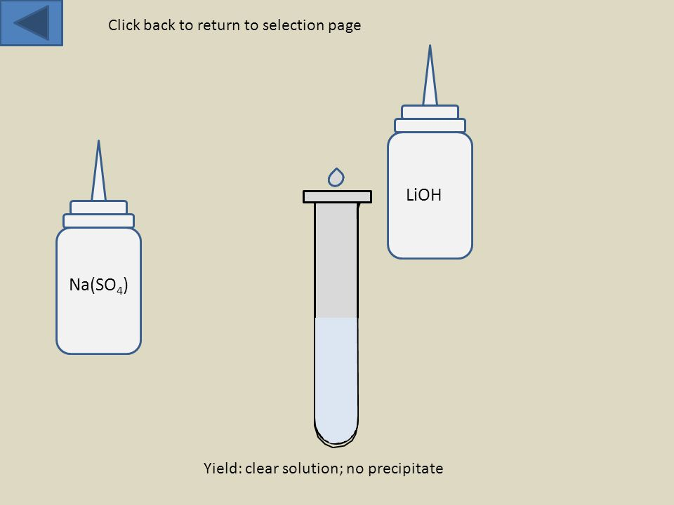 Na(SO 4 ) LiOH Yield: clear solution; no precipitate Click back to return to selection page