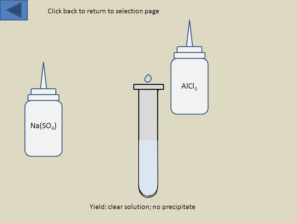 Na(SO 4 ) AlCl 3 Yield: clear solution; no precipitate Click back to return to selection page