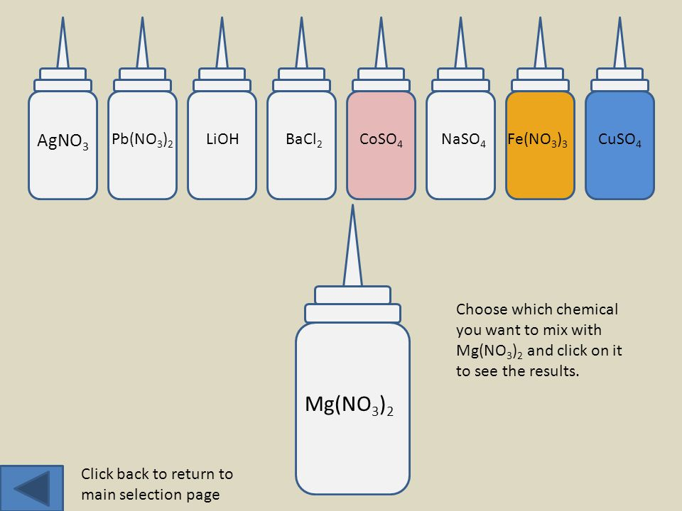 AgNO 3 Pb(NO 3 ) 2 LiOHBaCl 2 CoSO 4 NaSO 4 CuSO 4 Fe(NO 3 ) 3 Mg(NO 3 ) 2 Choose which chemical you want to mix with Mg(NO 3 ) 2 and click on it to see the results.