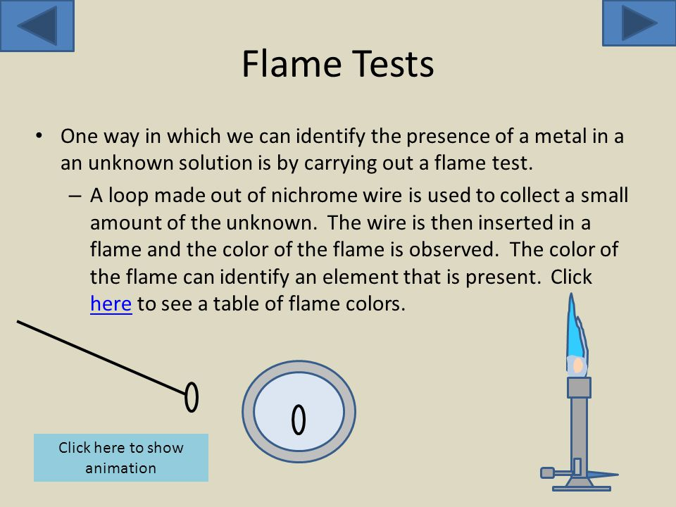 Flame Tests One way in which we can identify the presence of a metal in a an unknown solution is by carrying out a flame test.