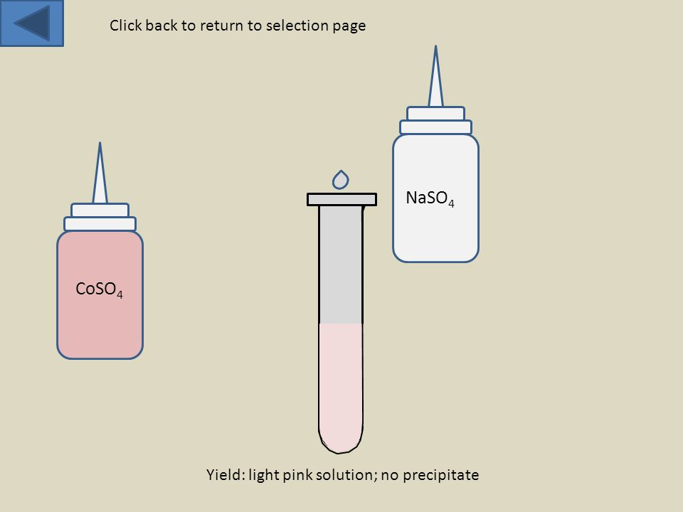 CoSO 4 NaSO 4 Yield: light pink solution; no precipitate Click back to return to selection page