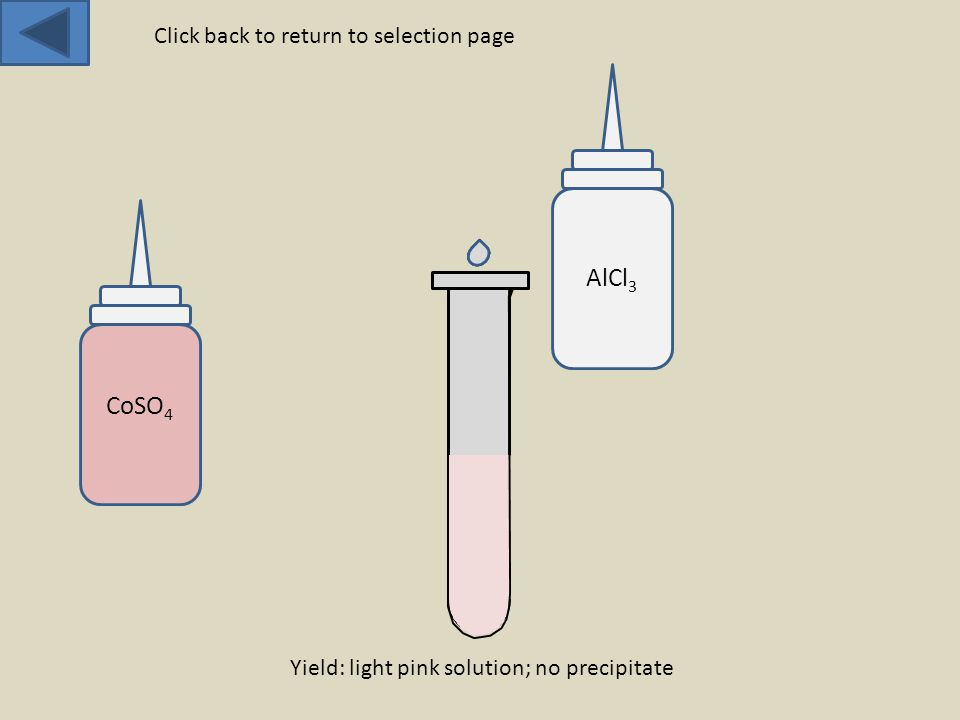 CoSO 4 AlCl 3 Yield: light pink solution; no precipitate Click back to return to selection page