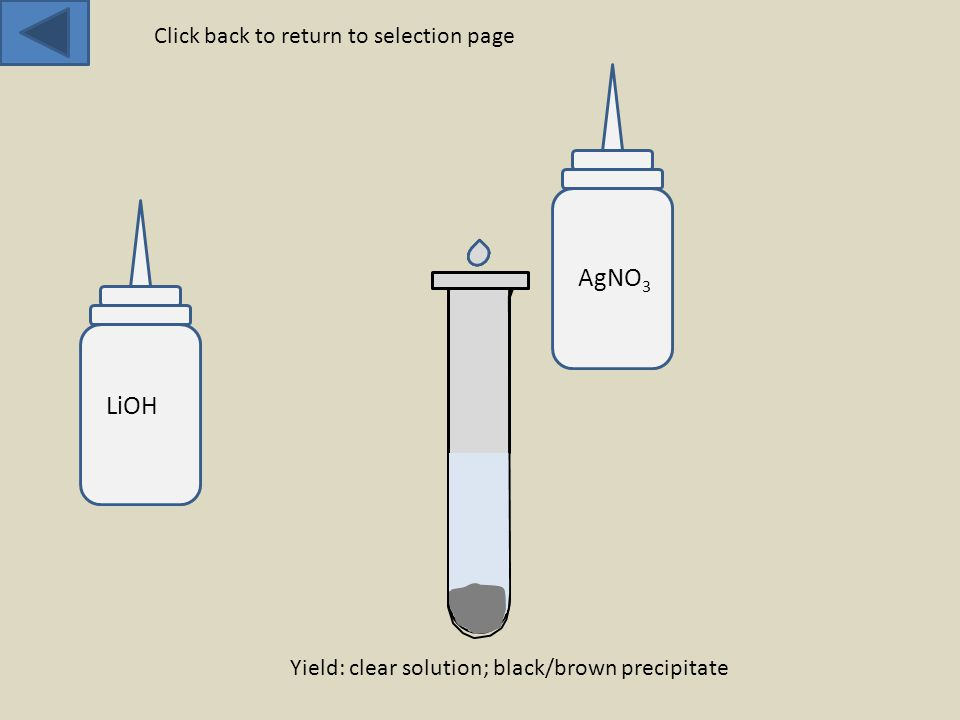 LiOH AgNO 3 Yield: clear solution; black/brown precipitate Click back to return to selection page