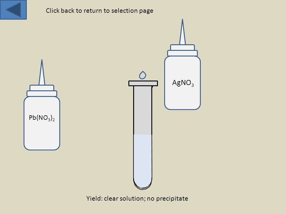 AgNO 3 Yield: clear solution; no precipitate Click back to return to selection page Pb(NO 3 ) 2