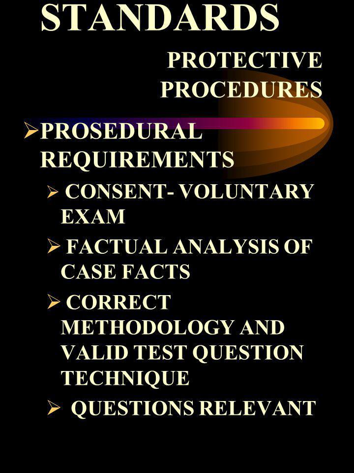 STANDARDS PROTECTIVE PROCEDURES PROSEDURAL REQUIREMENTS CONSENT- VOLUNTARY EXAM FACTUAL ANALYSIS OF CASE FACTS CORRECT METHODOLOGY AND VALID TEST QUES