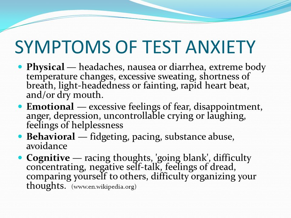TEST ANXIETY DEFINED Test anxiety is a psychological condition in which a person experiences distress before, during, or after an exam or other assessment to such an extent that this anxiety causes poor performance or interferes with normal learning.
