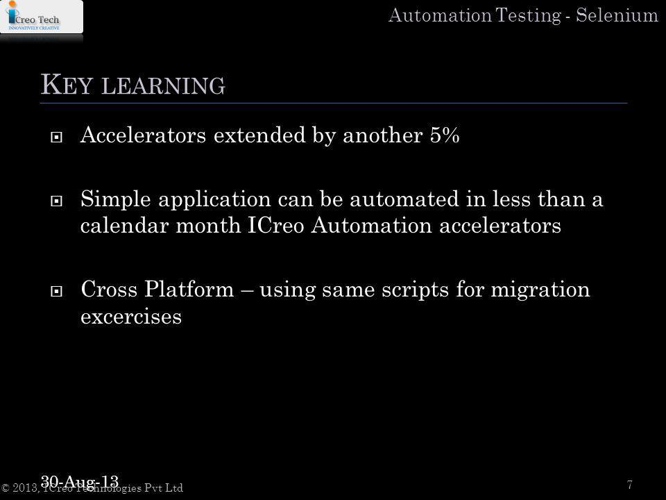 Automation Testing - Selenium K EY LEARNING Accelerators extended by another 5% Simple application can be automated in less than a calendar month ICreo Automation accelerators Cross Platform – using same scripts for migration excercises 30-Aug-13 © 2013, ICreo Technologies Pvt Ltd 7