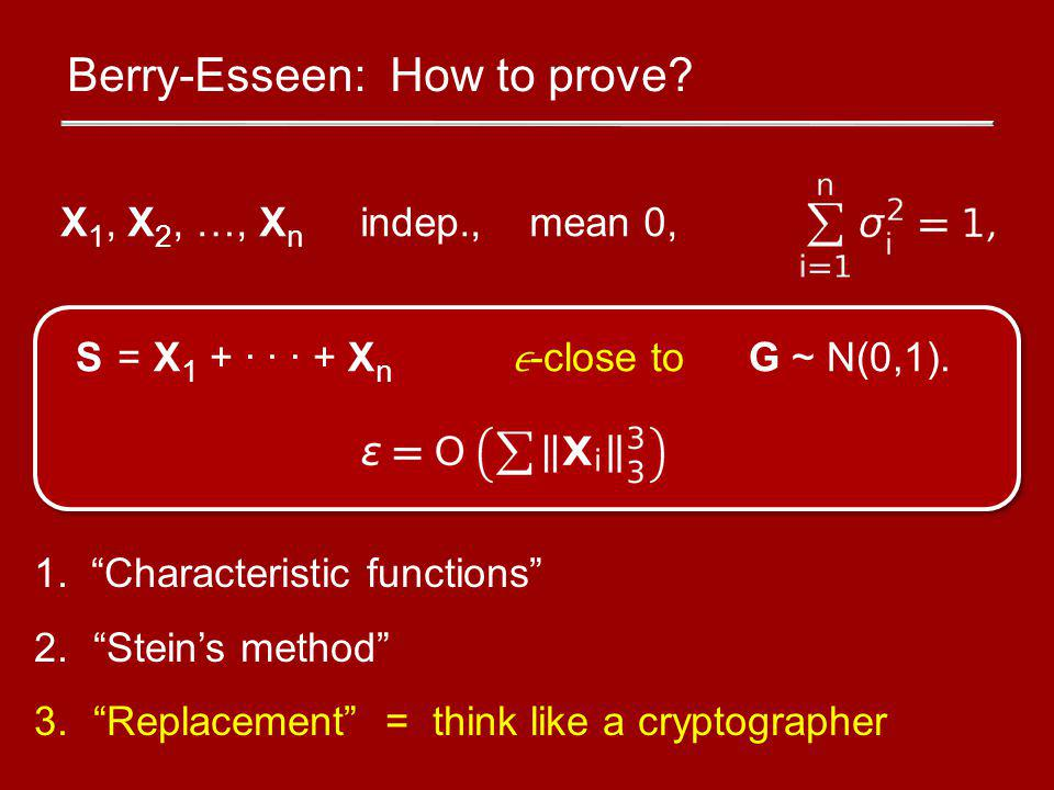 Berry-Esseen: How to prove.1.