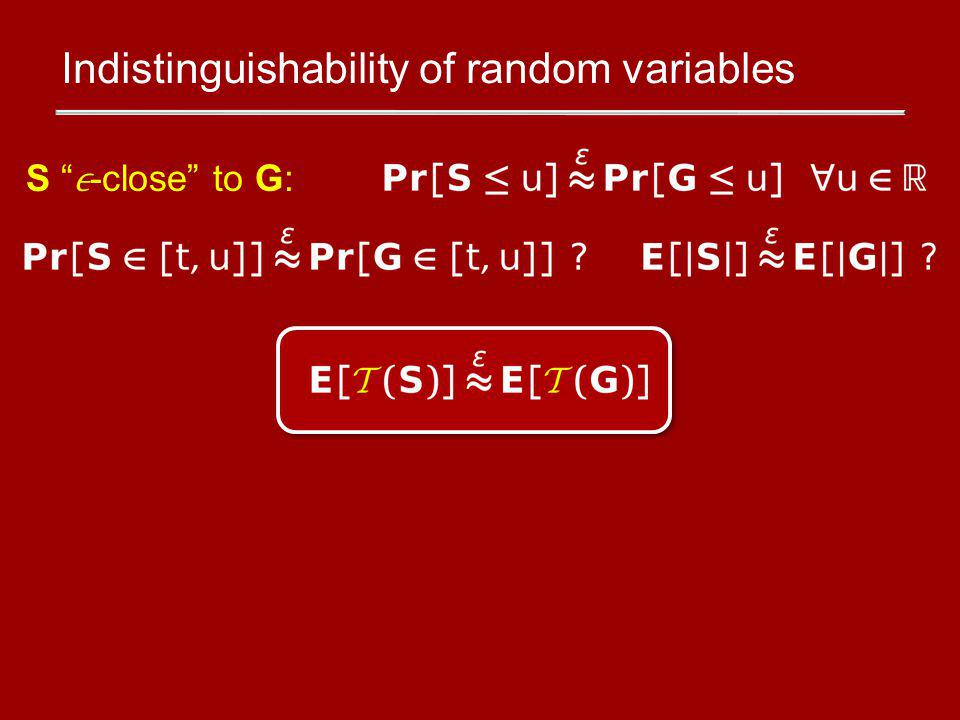 Indistinguishability of random variables S -close to G: