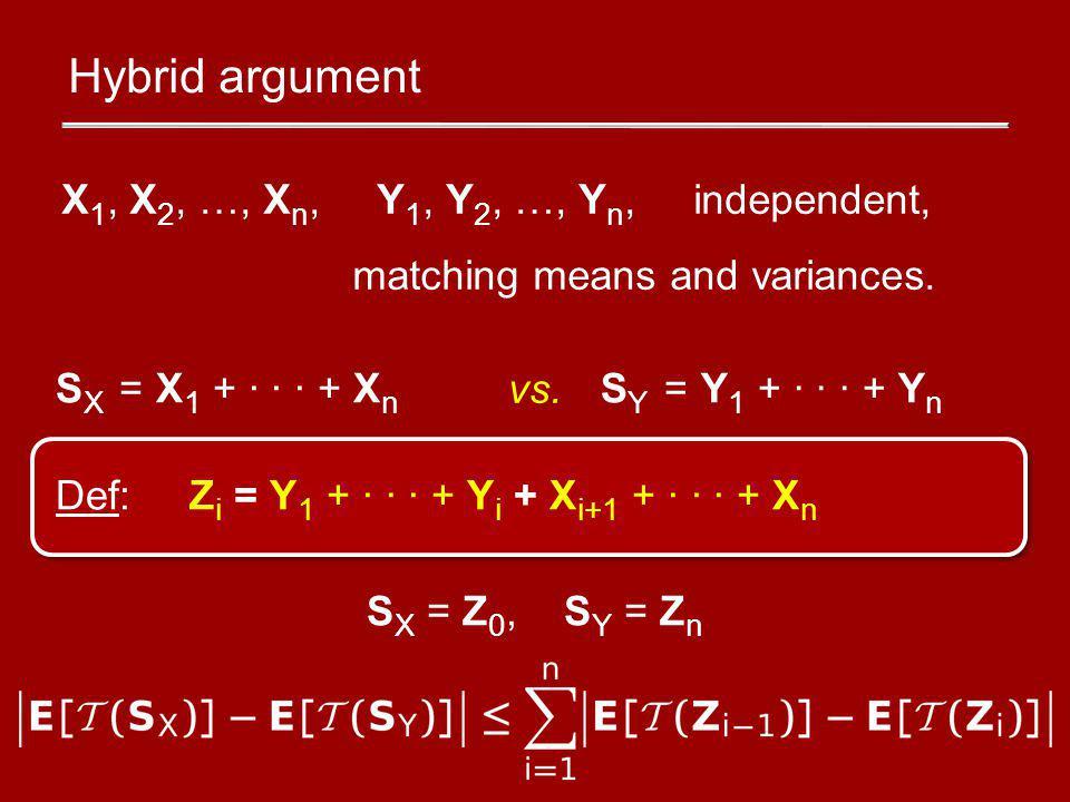 Hybrid argument Def: Z i = Y 1 + · · · + Y i + X i+1 + · · · + X n S X = Z 0, S Y = Z n X 1, X 2, …, X n, Y 1, Y 2, …, Y n, independent, matching means and variances.