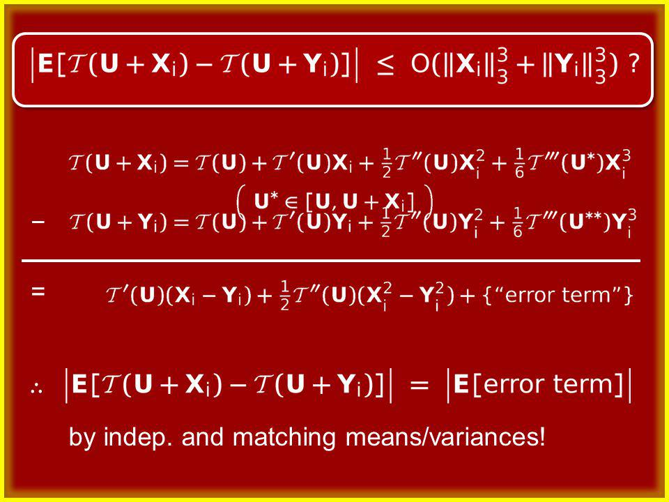 = by indep. and matching means/variances!