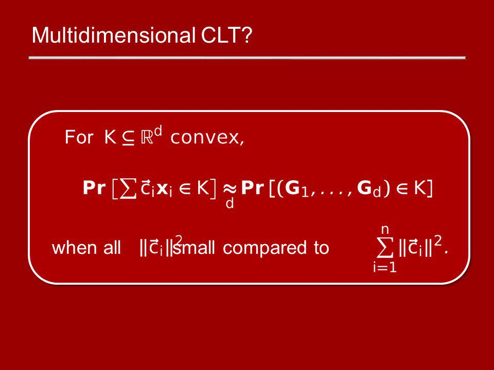 Multidimensional CLT when all small compared to For