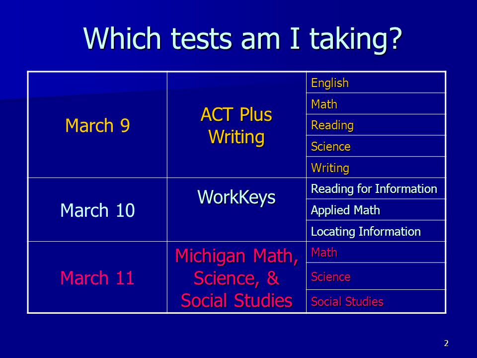 2 Which tests am I taking? March 9 ACT Plus Writing English Math Reading Science Writing March 10WorkKeys Reading for Information Applied Math Locatin
