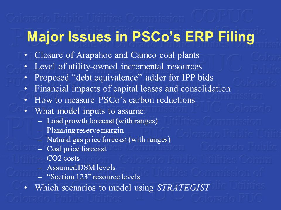 Major Issues in PSCos ERP Filing Closure of Arapahoe and Cameo coal plants Level of utility-owned incremental resources Proposed debt equivalence adder for IPP bids Financial impacts of capital leases and consolidation How to measure PSCos carbon reductions What model inputs to assume: –Load growth forecast (with ranges) –Planning reserve margin –Natural gas price forecast (with ranges) –Coal price forecast –CO2 costs –Assumed DSM levels –Section 123 resource levels Which scenarios to model using STRATEGIST