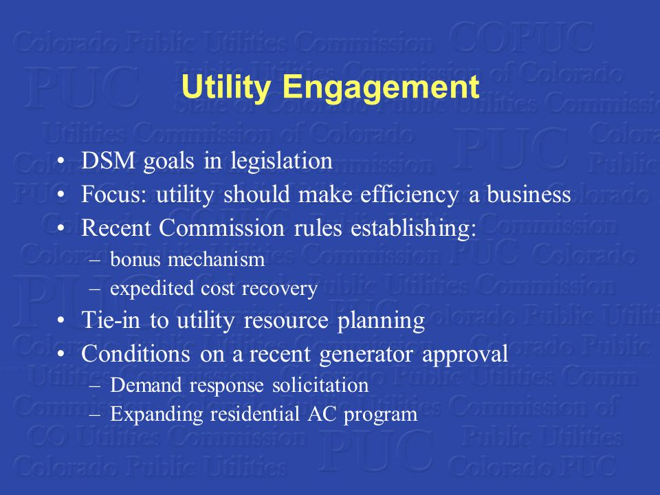 Utility Engagement DSM goals in legislation Focus: utility should make efficiency a business Recent Commission rules establishing: –bonus mechanism –expedited cost recovery Tie-in to utility resource planning Conditions on a recent generator approval –Demand response solicitation –Expanding residential AC program