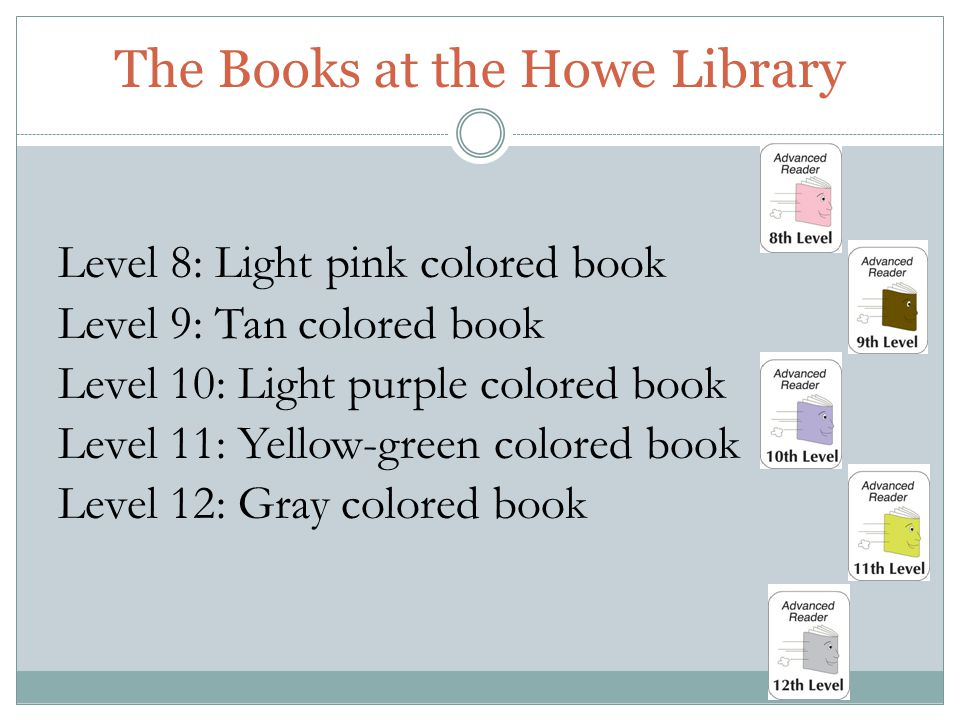 The Books at the Howe Library Level 8: Light pink colored book Level 9: Tan colored book Level 10: Light purple colored book Level 11: Yellow-green colored book Level 12: Gray colored book