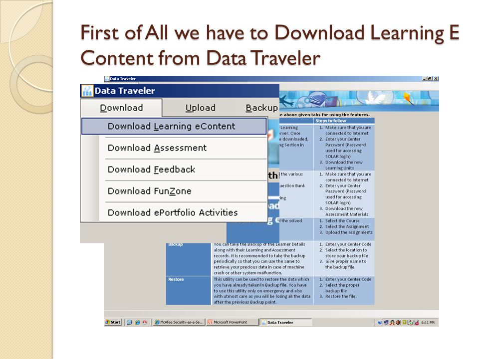 First of All we have to Download Learning E Content from Data Traveler