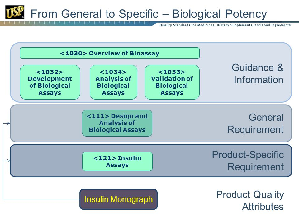 From General to Specific – Biological Potency Overview of Bioassay Analysis of Biological Assays Development of Biological Assays Validation of Biological Assays Design and Analysis of Biological Assays Insulin Assays Guidance & Information General Requirement Product-Specific Requirement Insulin Monograph Product Quality Attributes