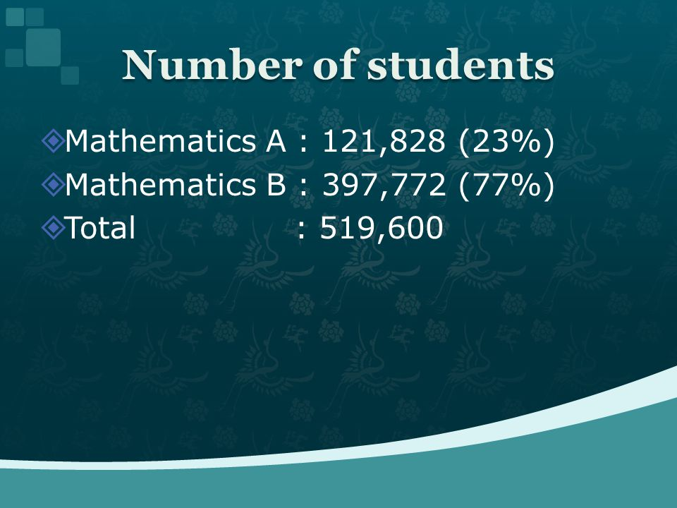Mathematics A : 121,828 (23%) Mathematics B : 397,772 (77%) Total : 519,600 Number of students