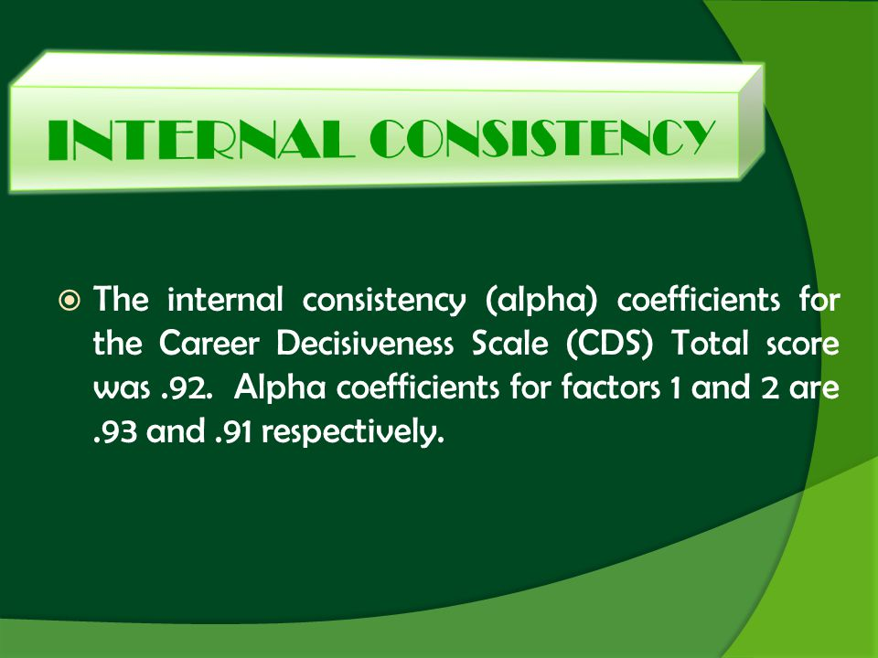 The internal consistency (alpha) coefficients for the Career Decisiveness Scale (CDS) Total score was.92. Alpha coefficients for factors 1 and 2 are.9