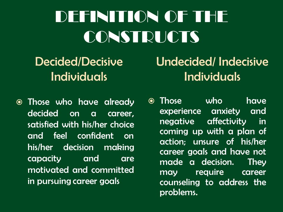 DEFINITION OF THE CONSTRUCTS Decided/Decisive Individuals Undecided/ Indecisive Individuals Those who have already decided on a career, satisfied with his/her choice and feel confident on his/her decision making capacity and are motivated and committed in pursuing career goals Those who have experience anxiety and negative affectivity in coming up with a plan of action; unsure of his/her career goals and have not made a decision.