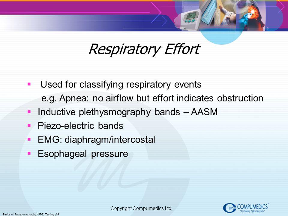 Copyright Compumedics Ltd. Basics of Polysomnography (PSG) Testing /09 Respiratory Effort Used for classifying respiratory events e.g. Apnea: no airfl