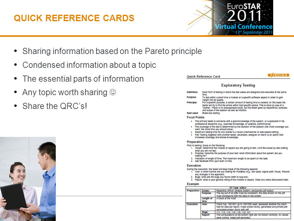 QUICK REFERENCE CARDS Sharing information based on the Pareto principle Condensed information about a topic The essential parts of information Any topic worth sharing Share the QRCs!