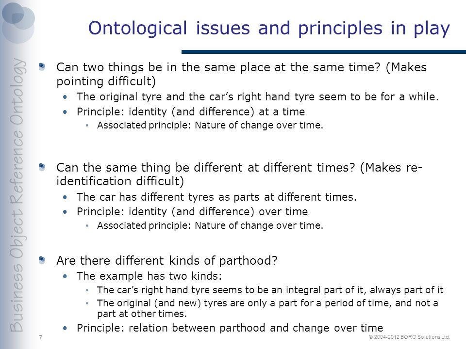 © 2004-2012 BORO Solutions Ltd.BORO Approach - 1 Principle: Nature of change over time.