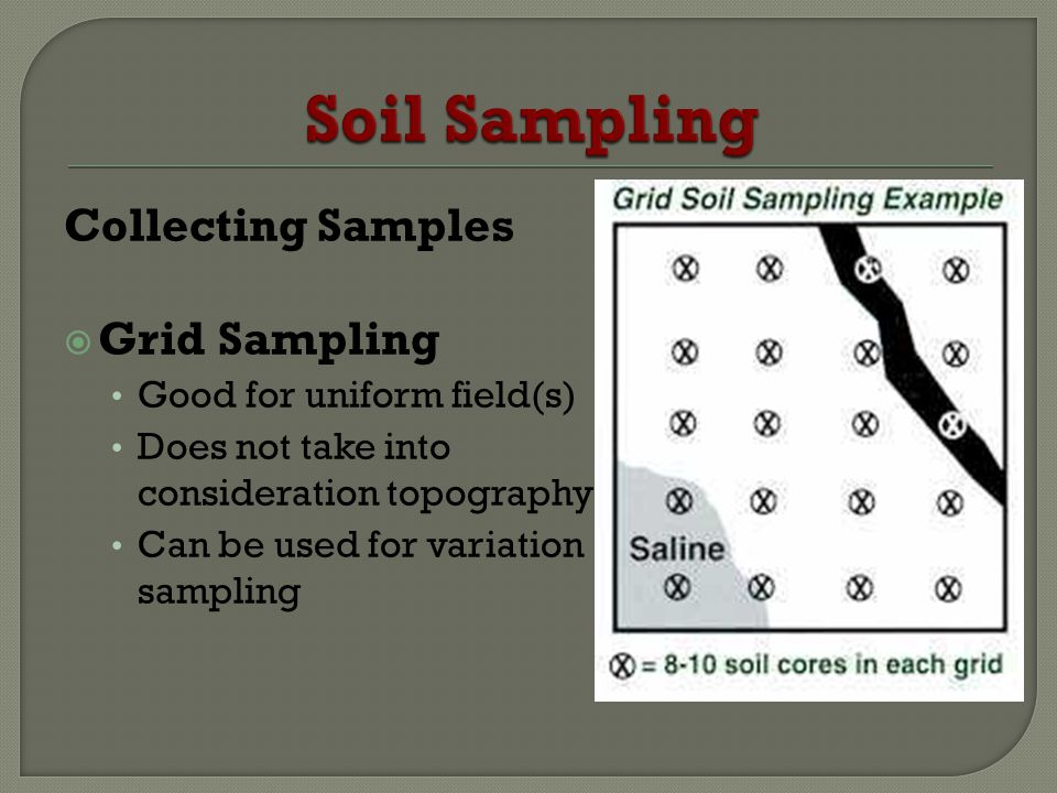 Collecting Samples Grid Sampling Good for uniform field(s) Does not take into consideration topography Can be used for variation sampling
