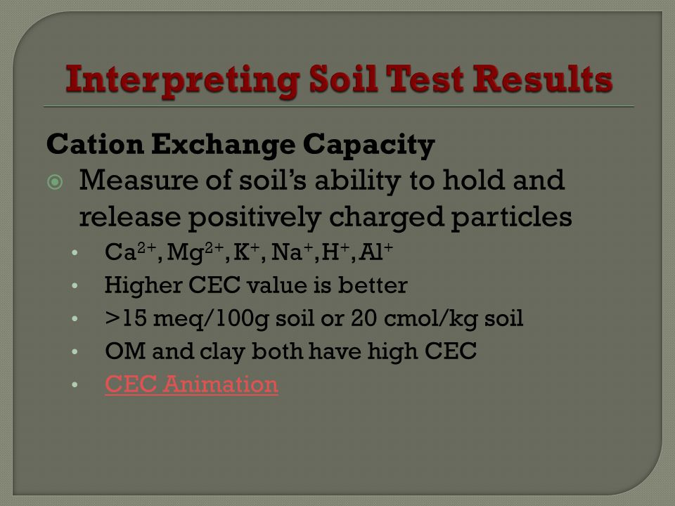 Cation Exchange Capacity Measure of soils ability to hold and release positively charged particles Ca 2+, Mg 2+, K +, Na +, H +, Al + Higher CEC value