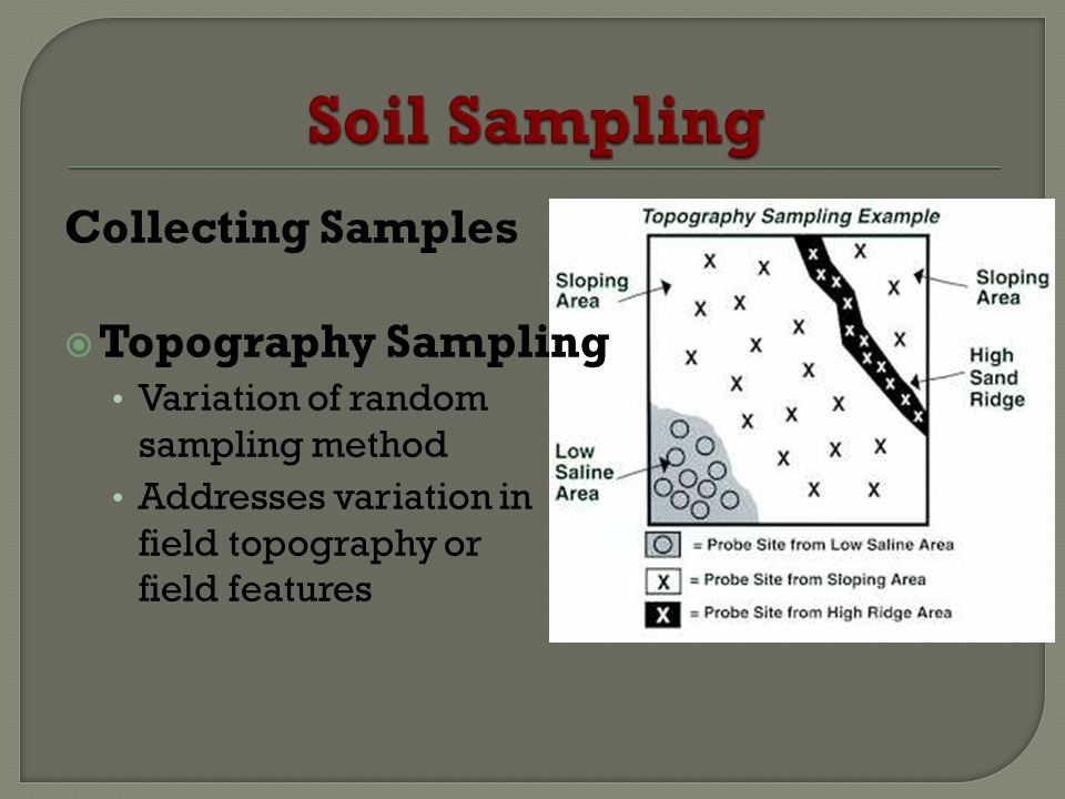 Collecting Samples Topography Sampling Variation of random sampling method Addresses variation in field topography or field features