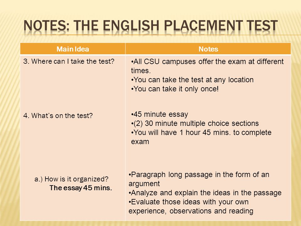 Question/Main IdeaNotes 1.What tests are required for entrance to a CSU.