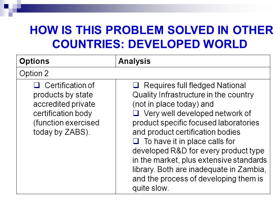HOW IS THIS PROBLEM SOLVED IN OTHER COUNTRIES: DEVELOPED WORLD OptionsAnalysis Option 2 Certification of products by state accredited private certific