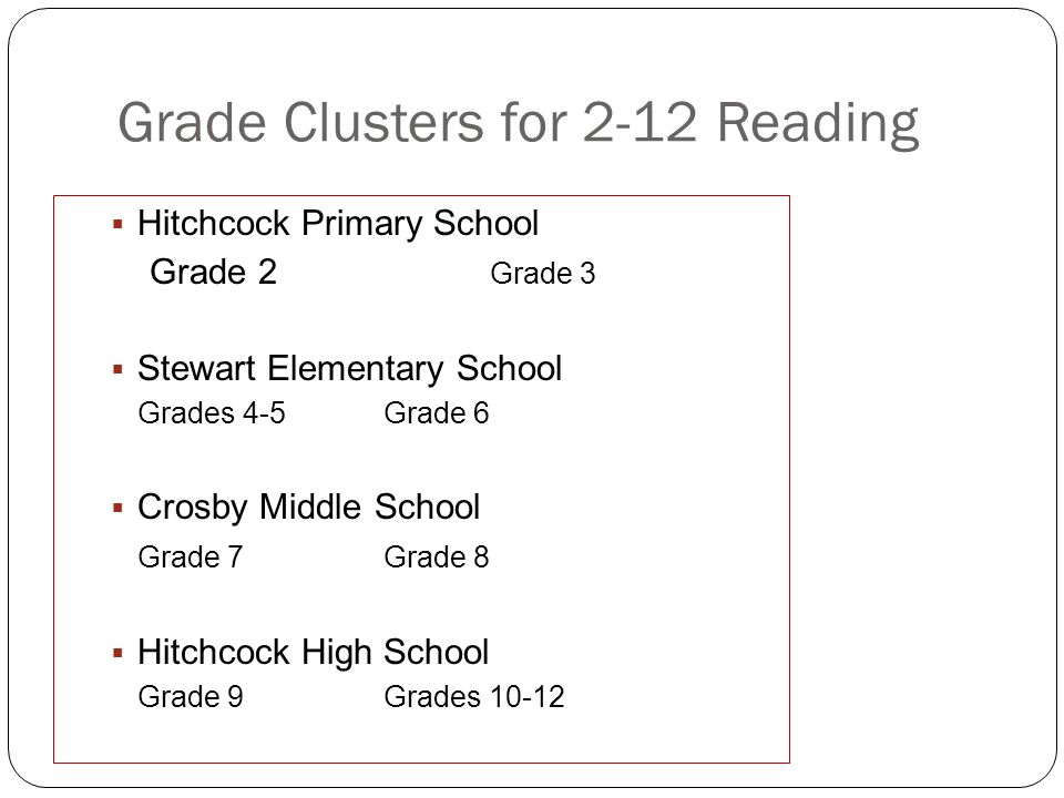 Grade Clusters for 2-12 Reading Hitchcock Primary School Grade 2 Grade 3 Stewart Elementary School Grades 4-5Grade 6 Crosby Middle School Grade 7Grade 8 Hitchcock High School Grade 9Grades 10-12