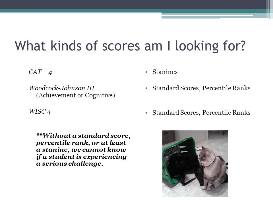 What kinds of scores am I looking for? CAT – 4 Woodcock-Johnson III (Achievement or Cognitive) WISC 4 **Without a standard score, percentile rank, or