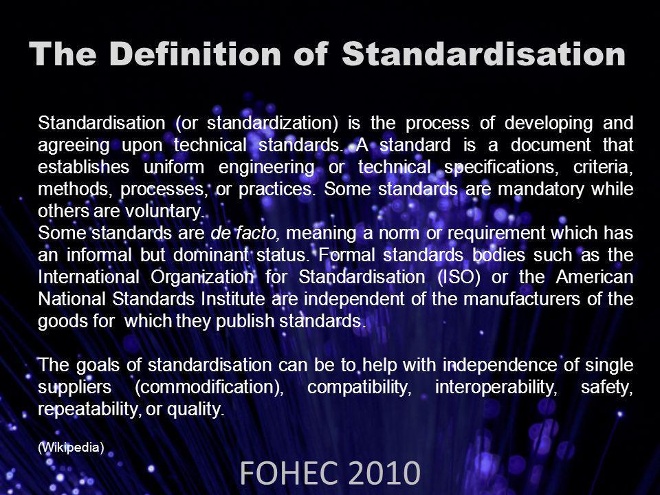 Why Standardise.