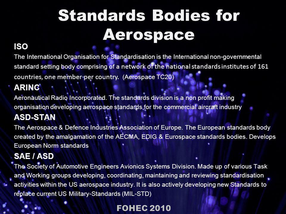 Standards used in the European Aerospace Community FOHEC 2010 Telecommunications standard TIA 455 Standard Test Procedures for Fiber.