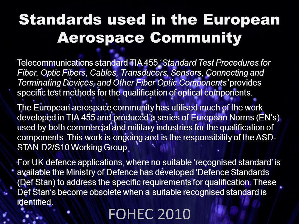 Standards used in the European Aerospace Community FOHEC 2010 Telecommunications standard TIA 455 Standard Test Procedures for Fiber.