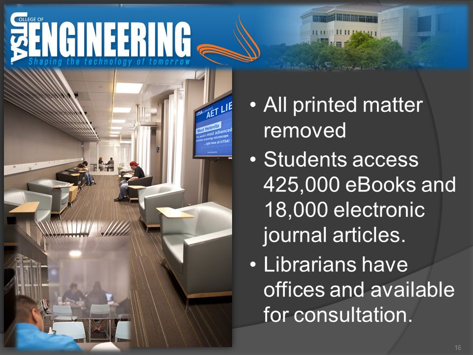 16 All printed matter removed Students access 425,000 eBooks and 18,000 electronic journal articles.