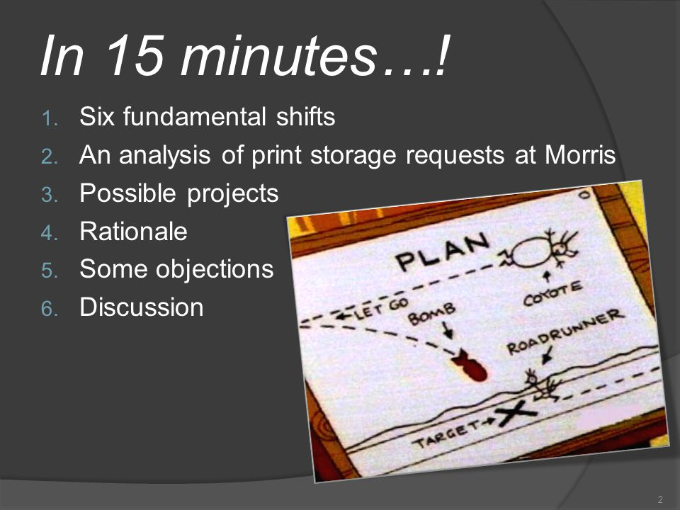 In 15 minutes…. 1. Six fundamental shifts 2. An analysis of print storage requests at Morris 3.