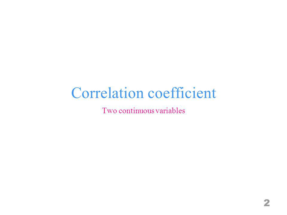 Correlation coefficient 2 Two continuous variables