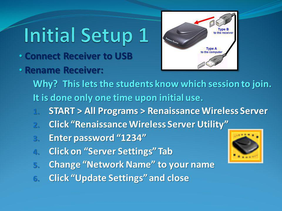 Double-click AccelTest software icon Double-click AccelTest software icon Enter password admin Enter password admin Setup – directions on handout: Setup – directions on handout: School Year – 1 term School Year – 1 term Grading Scale – Use LCSCs current scale Grading Scale – Use LCSCs current scale Adding Classes & Students (Ren.