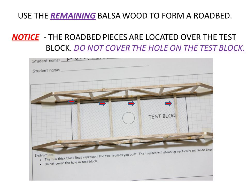 USE THE REMAINING BALSA WOOD TO FORM A ROADBED. NOTICE - THE ROADBED PIECES ARE LOCATED OVER THE TEST BLOCK. DO NOT COVER THE HOLE ON THE TEST BLOCK.