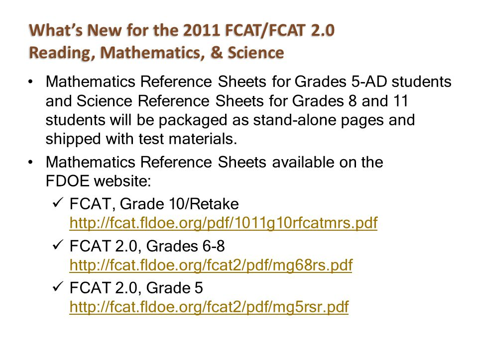 Mathematics Reference Sheets for Grades 5-AD students and Science Reference Sheets for Grades 8 and 11 students will be packaged as stand-alone pages