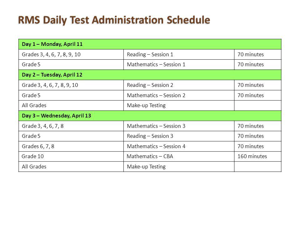 Day 1 – Monday, April 11 Grades 3, 4, 6, 7, 8, 9, 10Reading – Session 170 minutes Grade 5Mathematics – Session 170 minutes Day 2 – Tuesday, April 12 G