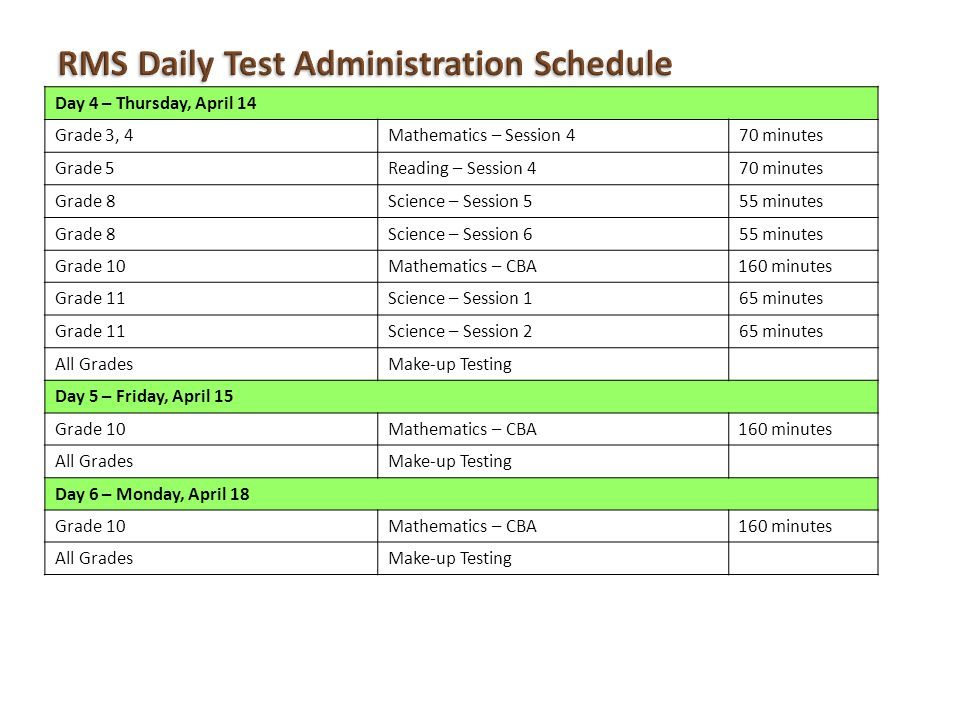 Day 4 – Thursday, April 14 Grade 3, 4Mathematics – Session 470 minutes Grade 5Reading – Session 470 minutes Grade 8Science – Session 555 minutes Grade